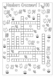 Vocabulary worksheets > Numbers > Numbers crossword