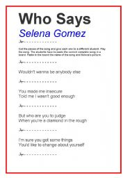 English Worksheets: SONG WHO SAYS - SELENA GOMEZ