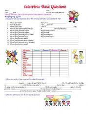 English Worksheets: Interview: Basic Questions