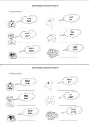 English Worksheets: special days around the world