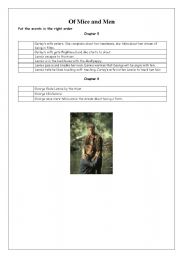 English Worksheets: Of Mice and Men. Chapter 5 and 6. Put the events in the correct order