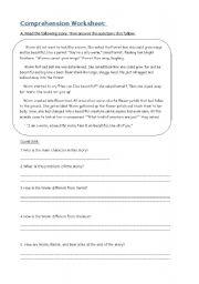English Worksheets: reading comprehension worksheet