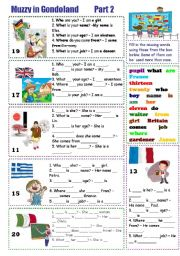 English Worksheet: Muzzy in Gondoland
