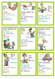 English Worksheet: speaking about people cards