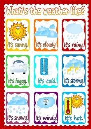 English Worksheet: What´s the weather like? - POSTER