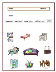 English worksheet:  what is inside our house?