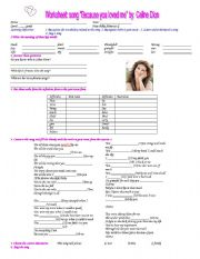 English Worksheets: worksheet : song Because you loved me by Celine Dion