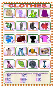 English Worksheet: CLOTHES  Unscramble and Match