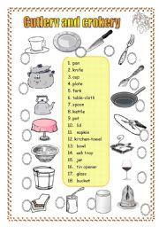 English Worksheet: Cutlery and crockery