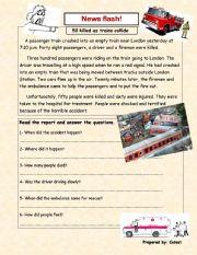 English Worksheet: news report