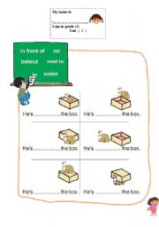 English worksheet:  propositions of place