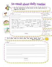 English Worksheet: daily routine email