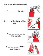 English Worksheets: How to use a fire extinguisher
