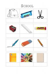 English worksheet: schoolthings - vocabulary worksheet