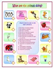 English Worksheets: What are the animals doing? Part 1