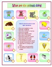 English Worksheets: What are the animals doing? Part 2