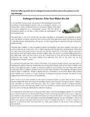 English Worksheets: Polar bear