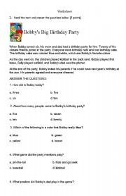 English Worksheets: Numbers and reading comprehension