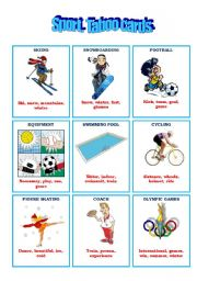 English Worksheet: TABOO GAME: SPORT
