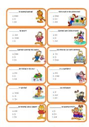 English Worksheet: 44 Speaking cards practise the auxilialies:do, don�t,does,doesn�t,is,isn�t