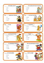 English Worksheet: Speaking cards (set 2) Auxiliary verbs multiple choice cards