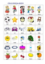 English Worksheets: ENGLISH in PICTURES (1st words, other picts)