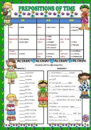 English Worksheets: PREPOSITIONS OF TIME