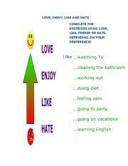 English Worksheets: LOVE, ENJOY, LIKE, HATE