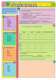 English Worksheets: Preferences