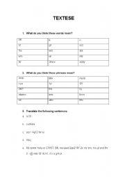 English Worksheets: Textese