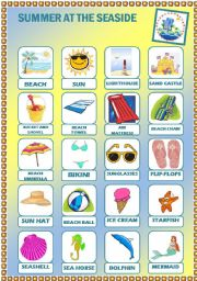English Worksheet: Summer at the seaside - Pictionary + Activities + Answer Key