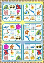 English Worksheet: Summer at the seaside - 6 bingo cards + cards with pictures and words to play