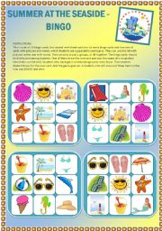 English Worksheet: Summer at the seaside - Set of 16 bingo cards