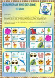 English Worksheet: Summer at the seaside - Set of 16 bingo cards