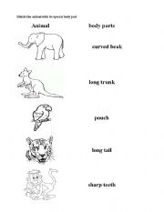 english teaching worksheets animal body parts. Black Bedroom Furniture Sets. Home Design Ideas