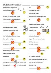 English Worksheet: Don´t worry be Happy. Bobby McFerrin
