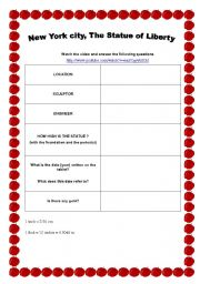 English Worksheet: Video : New York City, The Statue of Liberty