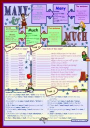 English Worksheet: Many & much * for elementary level * 3 tasks * with key *** fully editable ***