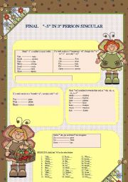 English Worksheets: FINAL SPELLING OF -S IN 3RD PERSIN SINGULAR