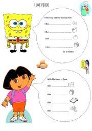 like likes foods with Dora and Sponge Bob