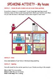 English Worksheet: SPEAKING ACTIVITY - My house