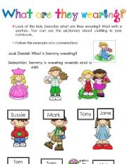 English Worksheet: clothing oral activity