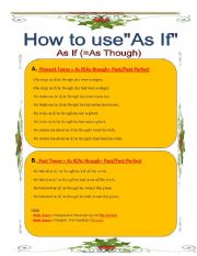 English Worksheets: How to use As If