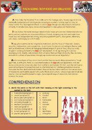 English Worksheets: Packaging Girlhood and Boyhood