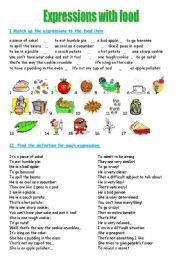 English Worksheets: Expressions with food