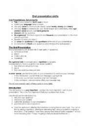 English Worksheet: Oral Presentation Skills