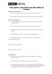 English Worksheet: Reading: Troy Davis execution and Twitter