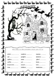 English Worksheets: Halloween 2 pages