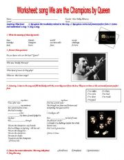 English Worksheets: worksheet: song we are the champions by queen
