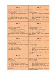 English Worksheet: IELTS Speaking, Part 2